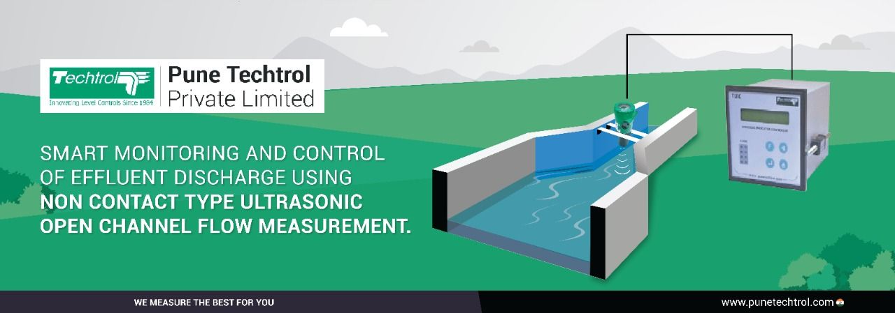 Smart monitoring and control of effluent discharge using non contact type ultrasonic open channel flow measurement