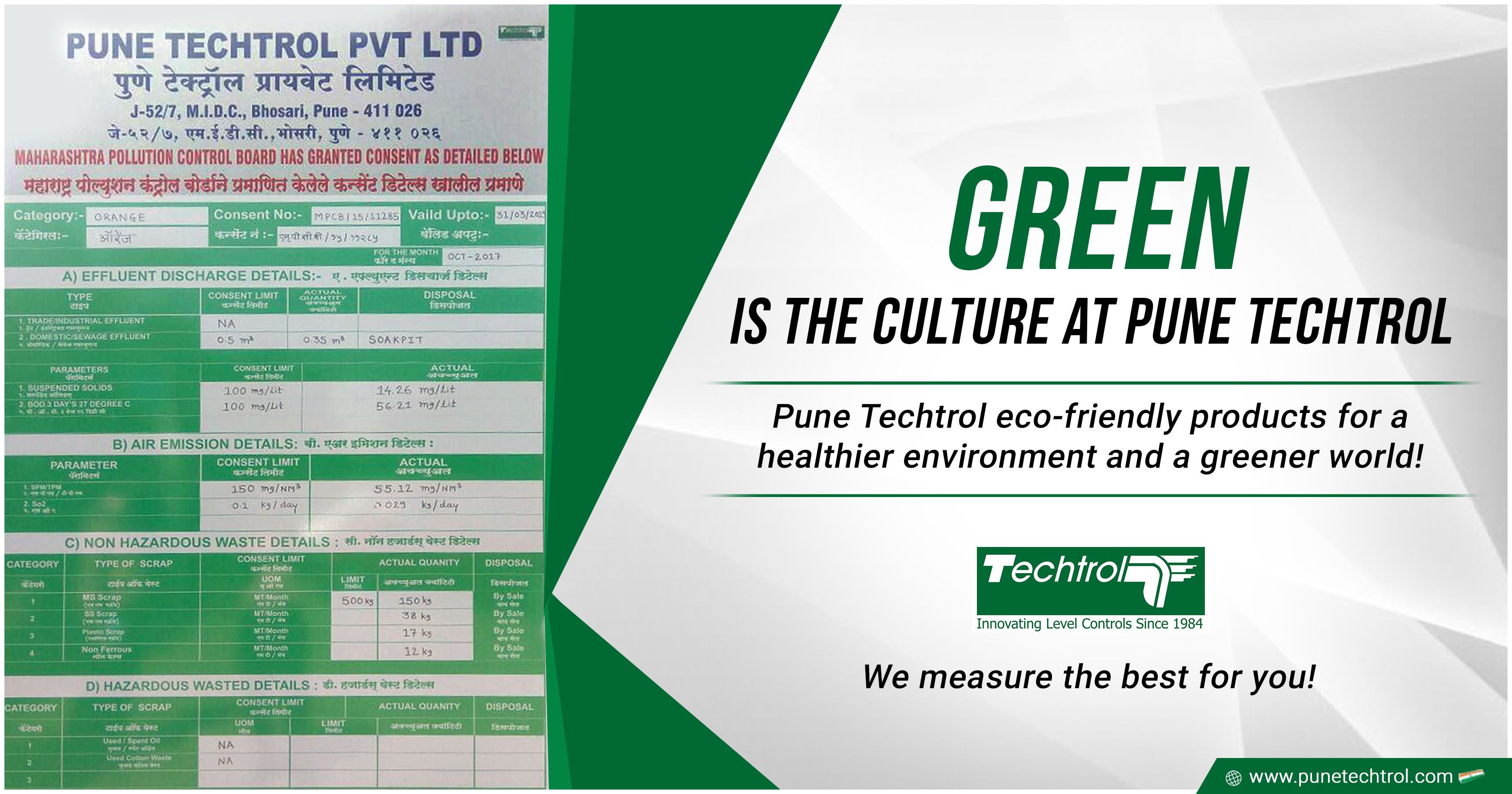 Green is the culture at Pune Techtrol; certified as a Green Channel Supplier