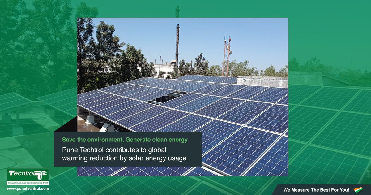 Pune Techtrol contributes to global warming reduction by solar energy usage